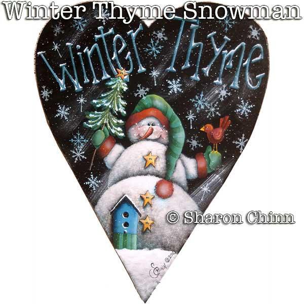 Winter Thyme Snowman - Primitive Heart - E-Packet - Sharon Chinn