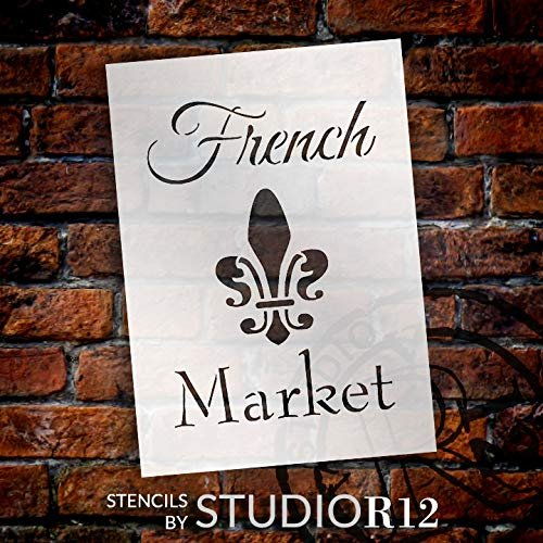 French Market with Fleur de Lis Stencil by StudioR12 | Reusable Mylar Template | Use to Paint Wood Signs - Pallets - Walls - DIY French Decor - Select Size