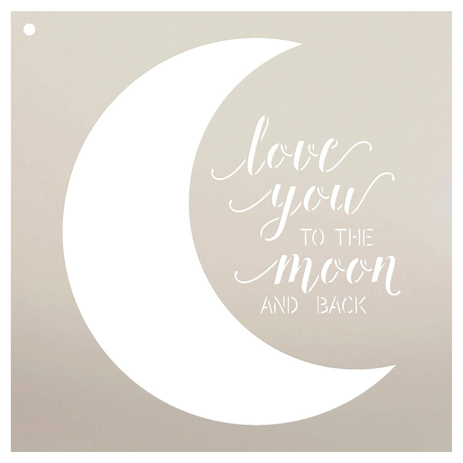 Love You to The Moon and Back Stencil by StudioR12 | Reusable Mylar Template | Use to Paint Wood Signs - Pallets - Pillows - DIY Family & Love Decor - Select Size