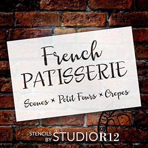 French Patisserie Stencil by StudioR12   Reusable Mylar Template   Use to Paint Wood Signs - Pallets - Walls - DIY French Food Decor - Select Size