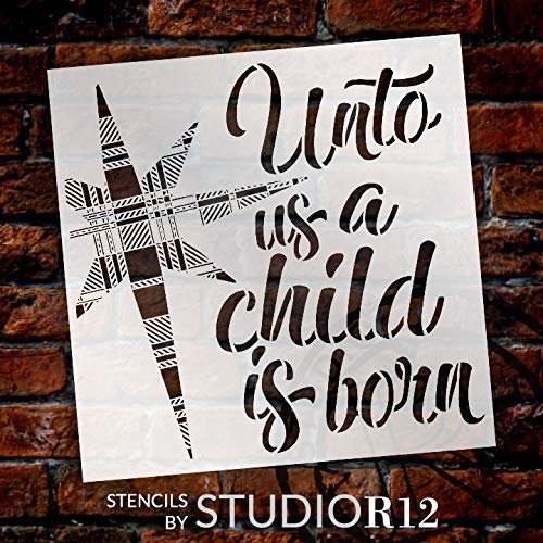 Unto Us A Child is Born Stencil with Buffalo Plaid Star by StudioR12 | DIY Seasonal Faith Christmas Home Decor | Craft & Paint Holiday Wood Signs | Reusable Mylar Template | Select Size