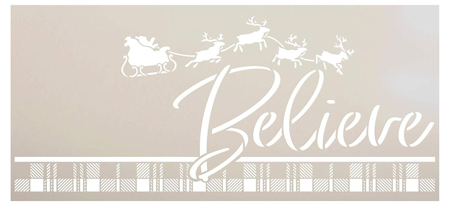 Believe Buffalo Plaid Stencil with Santa's Sleigh by StudioR12   DIY Reindeer Antler Christmas Home Decor   Craft & Paint Holiday Wood Signs   Reusable Mylar Template   Select Size