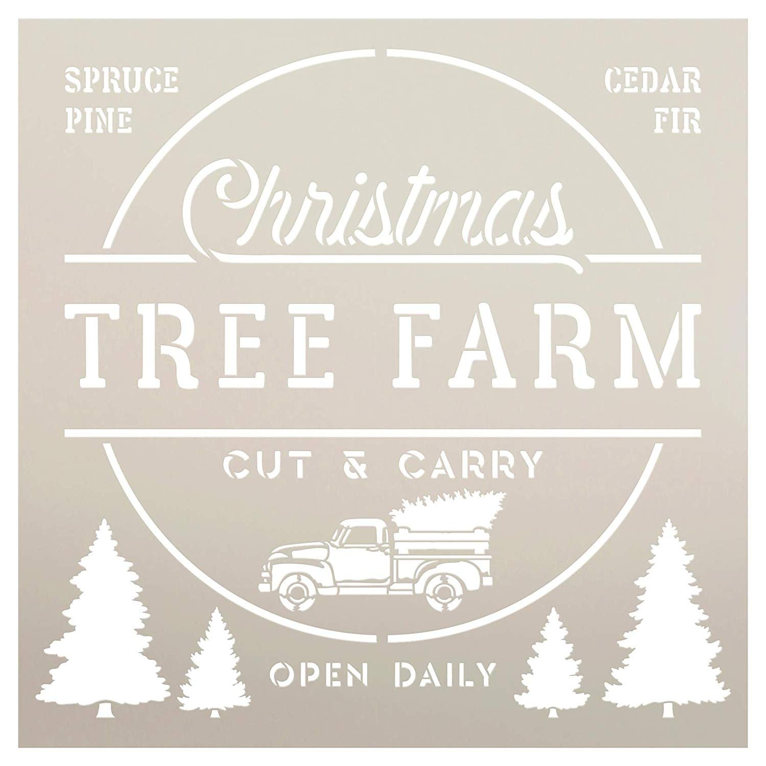 Christmas Tree Farm Stencil with Red Truck by StudioR12 | Cut & Carry | Open Daily | DIY Vintage Holiday Home Decor | Craft & Paint Wood Signs | Reusable Mylar Template | Select Size