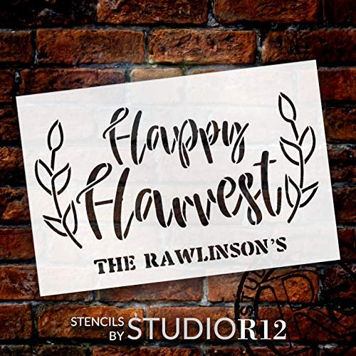 Personalized Happy Harvest Stencil with Wheat | Custom Cursive Family Name | DIY Fall Farmhouse Home Decor | Rustic Autumn Grain | Craft & Paint Wood Signs | Reusable Mylar Template | Select Size