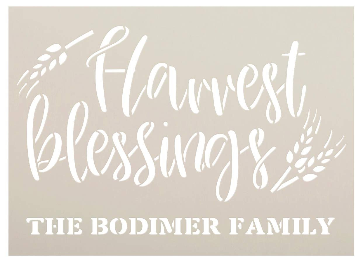 Personalized Harvest Blessings Stencil with Wheat | Custom Cursive Family Name | DIY Fall Farmhouse Home Decor | Rustic Autumn Grain | Craft & Paint Wood Signs | Reusable Mylar Template | Select Size