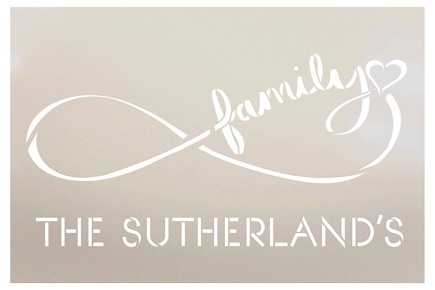 Personalized Infinity Family Stencil with Heart | Custom Last Name | DIY Farmhouse Home Decor | Anniversary or Wedding Gift Word Art | Craft & Paint Wood Signs | Reusable Mylar Template | Select Size