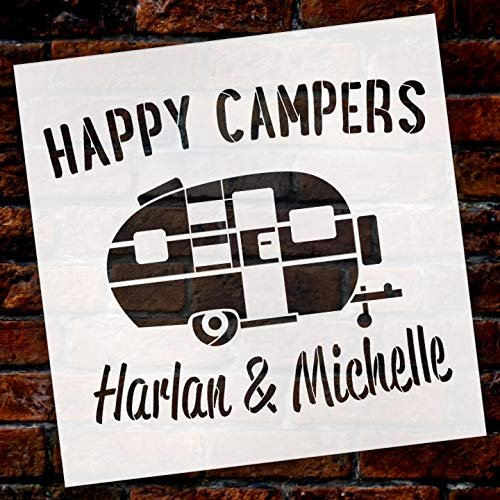 Personalized Happy Campers Stencil   Custom First or Last Names   DIY Fun Retro Camping Decor   Family Outdoor Vintage Word Art   Craft & Paint Wood Signs   Reusable Mylar Template   Select Size
