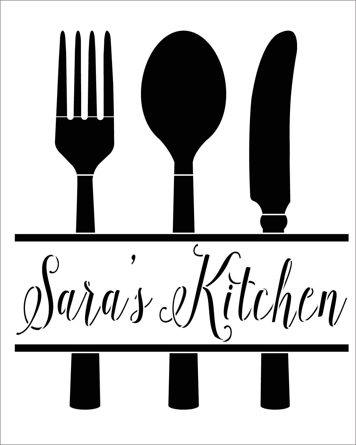 Personalized Kitchen Stencil with Fork, Knife, Spoon | Custom Name | DIY Country Cursive Script Home Decor | Farmhouse Utensil Art | Craft & Paint Wood Signs | Reusable Mylar Template | Select Size