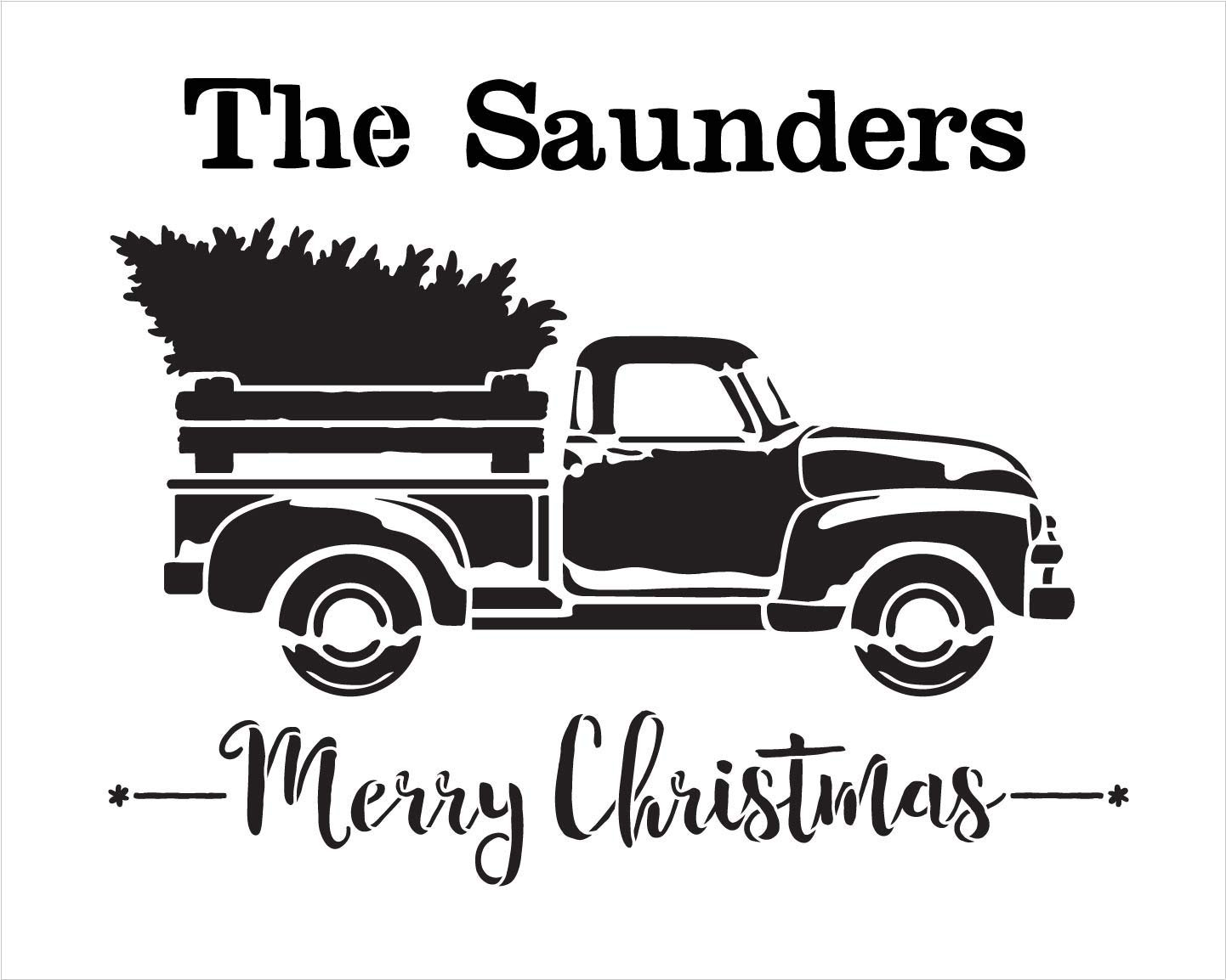 Personalized Merry Christmas Stencil with Red Truck & Tree   Custom Family Name   DIY Holiday Home Decor   Rustic Vintage Word Art   Craft & Paint Wood Signs   Reusable Mylar Template   Select Size