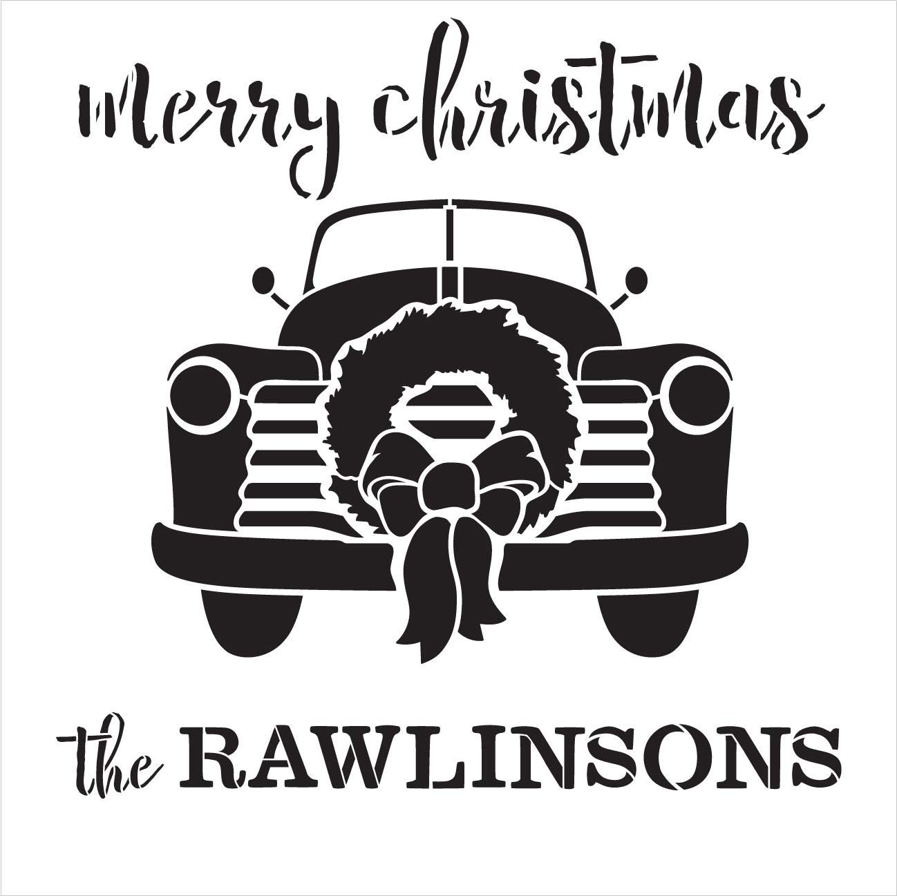 Personalized Merry Christmas Stencil with Red Truck & Wreath | DIY Rustic Holiday Home Decor | Custom Vintage Family Decoration Gift | Craft & Paint Wood Signs | Reusable Mylar Template | Select Size