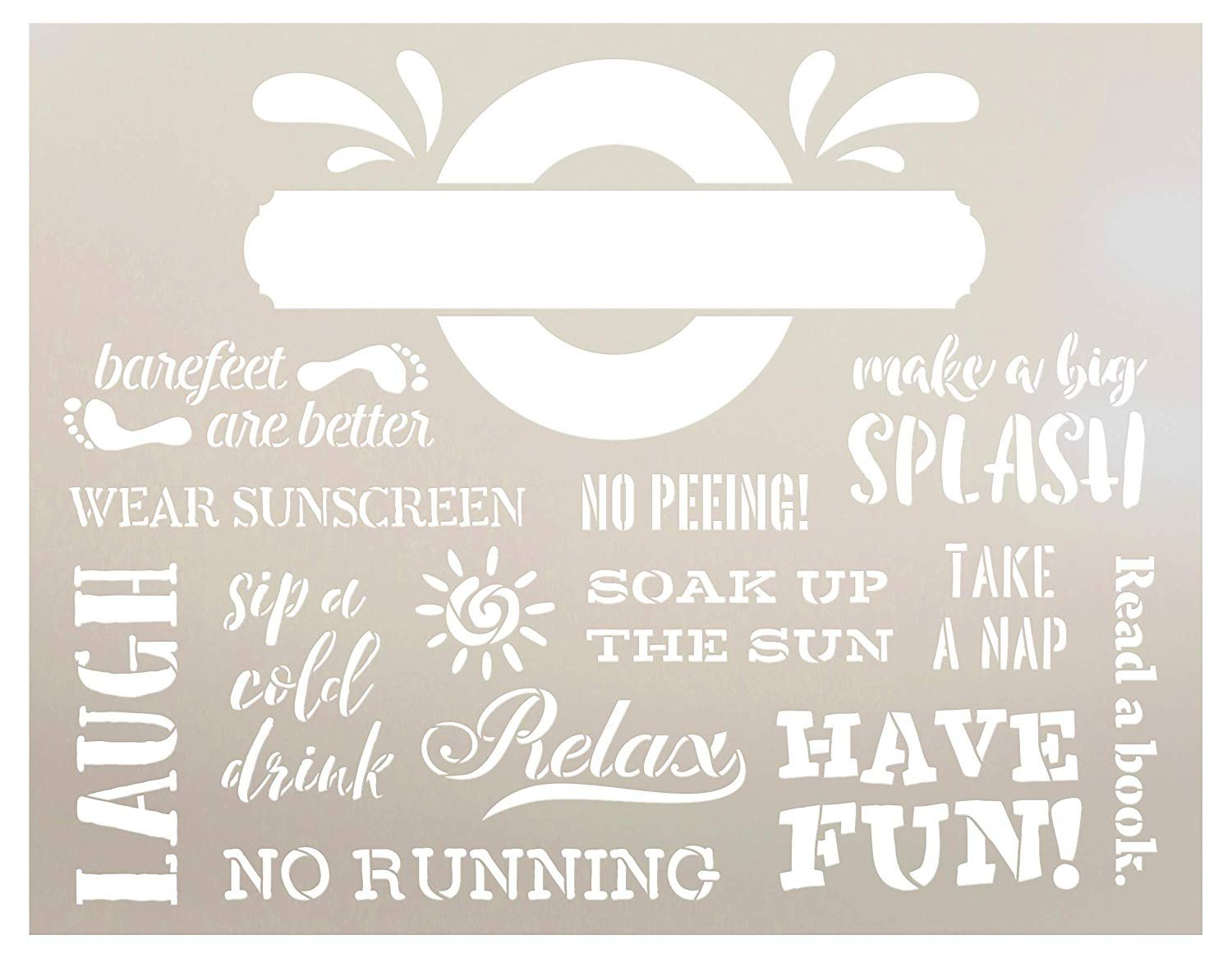Personalized Pool Rules 2-Part Stencil | DIY Family Summer Outdoor Deck Decor | Backyard BBQ Patio Gift | Craft & Paint Wood Signs | Reusable Mylar Template | Select Size