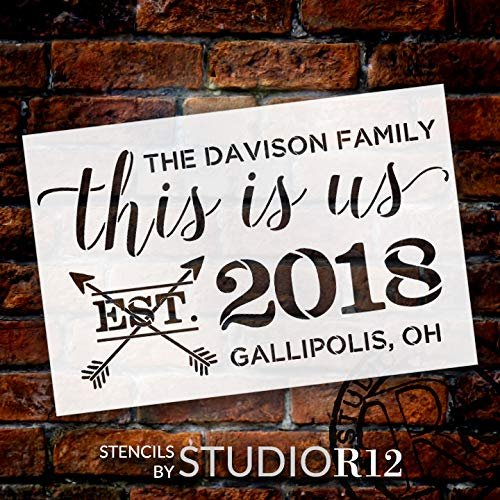 "Personalized This Is Us 2-Part Stencil with Arrows | Custom Family Name & Hometown | DIY Script Home Decor | Wedding Anniversary Gift | Craft & Paint Wood Signs | Reusable Mylar Template | 24"" x 16"""