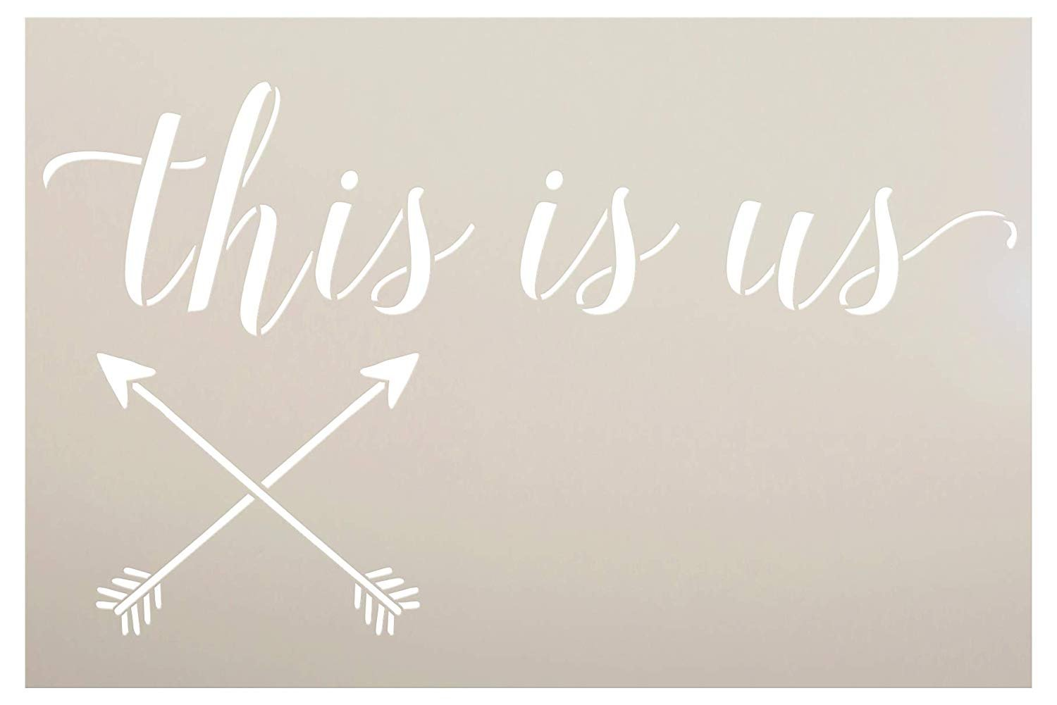 """Personalized This Is Us 2-Part Stencil with Arrows   Custom Family Name & Hometown   DIY Script Home Decor   Wedding Anniversary Gift   Craft & Paint Wood Signs   Reusable Mylar Template   24"""" x 16"""""""