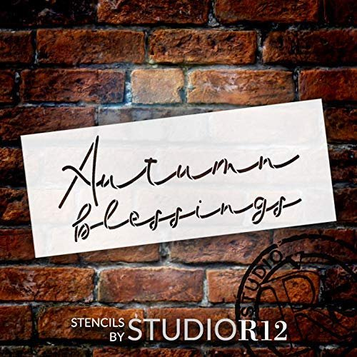 Autumn Blessing Stencil by StudioR12 | DIY Rustic Fall Farmhouse Home Decor | Cursive Script Thanksgiving Word Art | Craft & Paint Wood Sign | Reusable Mylar Template | Select Size