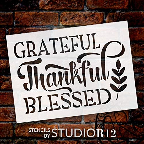 Grateful Thankful Blessed Stencil with Wheat by StudioR12   DIY Rustic Fall Farmhouse Home Decor   Autumn Word Art   Craft & Paint Wood Sign   Reusable Mylar Template   Select Size