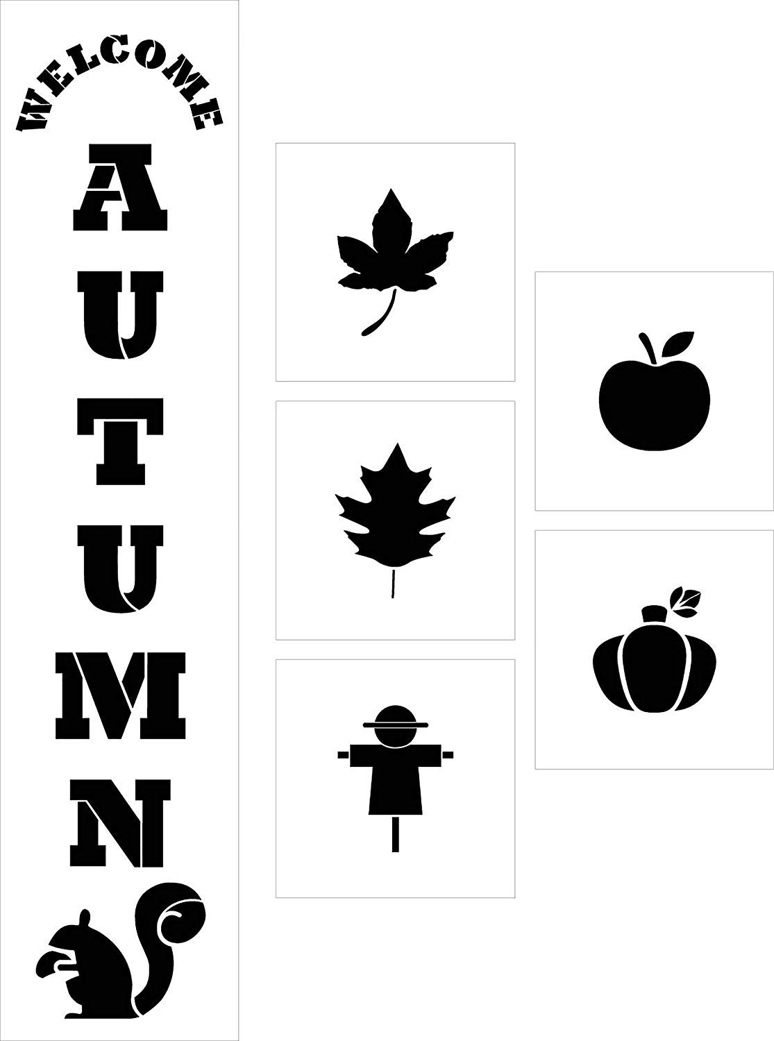Welcome Autumn Tall Porch 8 Piece Stencil Set by StudioR12 | Apple Pumpkin Leaf | DIY Large Vertical Fall Outdoor Home Decor | Craft & Paint Wood Leaner Signs | Reusable Mylar Template | Size 4ft