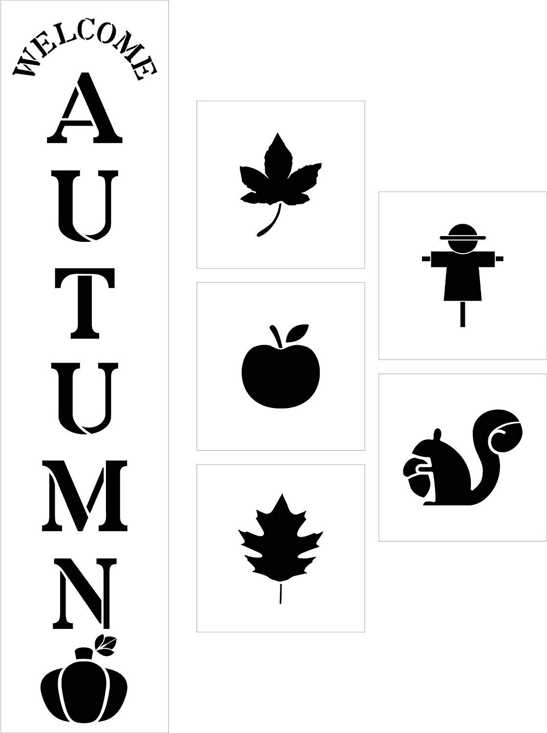 Welcome Autumn Tall Porch Stencil Set by StudioR12 | 8 Piece | Apple Pumpkin Leaf | DIY Large Vertical Fall Outdoor Home Decor | Craft & Paint Wood Leaner Signs | Reusable Mylar Template | Size 4ft