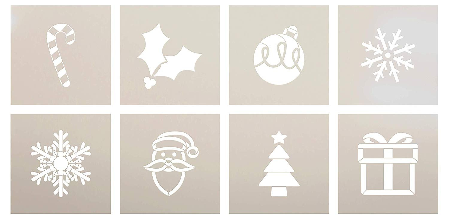 Merry Christmas Tall Porch 11 Piece Stencil Set by StudioR12 | Snowflake Ornament Holly Tree Santa | DIY Large Vertical Winter Holiday Outdoor Home Decor | Craft & Paint Wood Leaner Signs | Size 6ft