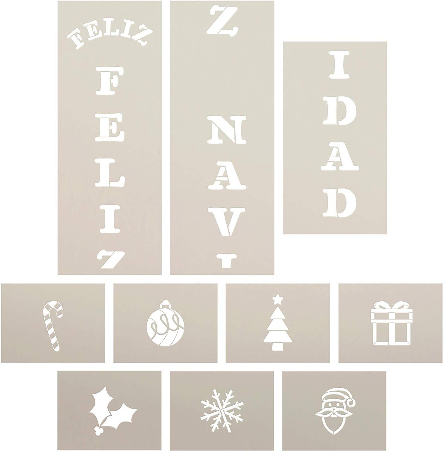 Feliz Navidad Tall Porch Stencil by StudioR12   10pc   Santa Christmas Tree Snowflake Ornament Candy Cane Holly   DIY Large Vertical Holiday Home Decor   Craft & Paint Wood Leaner Signs   Size 6ft
