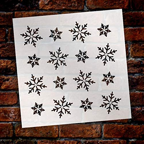Simple Snowflakes Pattern Stencil by StudioR12 | DIY Winter | Background Snow | Seasonal Gift | Craft Home Decor | Reusable Mylar Template | Paint Wood Sign - Select Size
