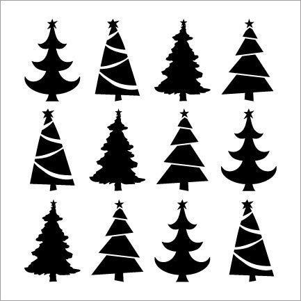 "Christmas Trees Pattern Stencil by StudioR12   DIY Christmas   Holiday Decor   Seasonal Gift   Craft Home Decor   Reusable Mylar Template   Paint Wood Sign - Select Size (18"" x 18"")"
