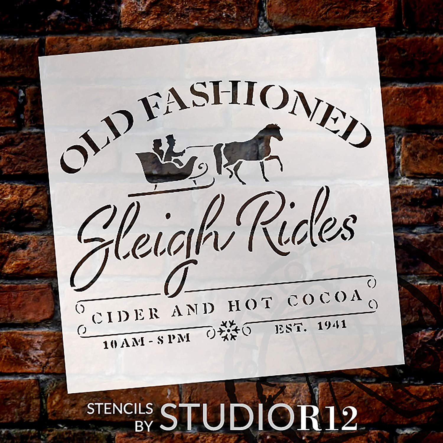 Old Fashioned Sleigh Ride Stencil with Horse by StudioR12   Cider & Hot Cocoa   DIY Christmas Winter Holiday Home Decor   Craft & Paint Wood Sign   Reusable Mylar Template   Select Size