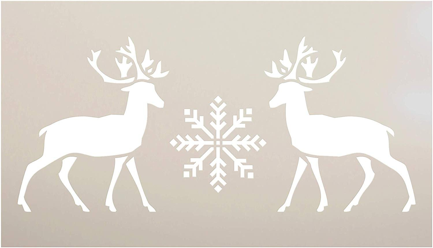 Facing Reindeer Stencil with Antlers & Snowflake by StudioR12 | DIY Christmas Winter Home Decor | North Pole Wall Art | Craft & Paint Wood Sign | Reusable Mylar Template | Select Size