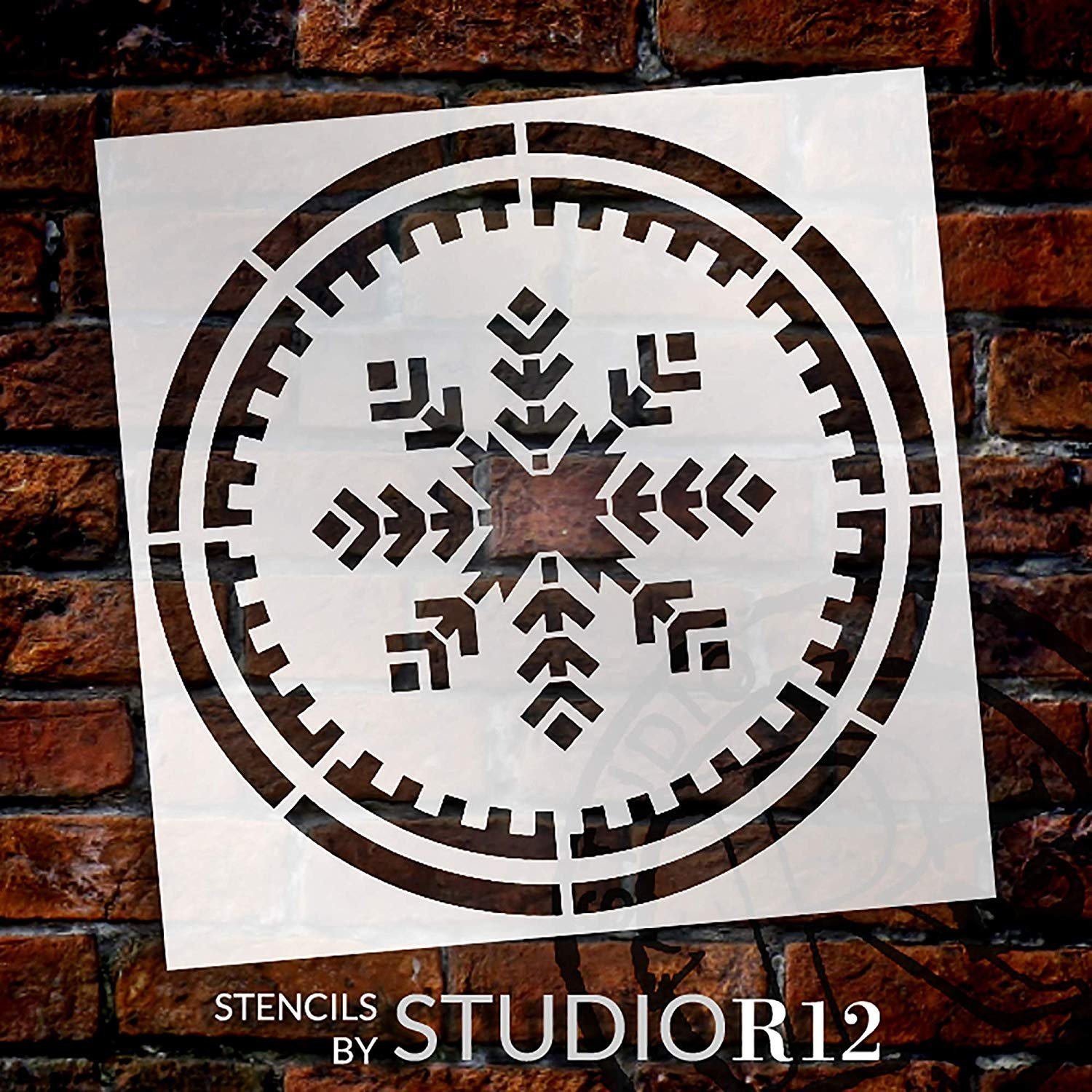 Snowflake in a Circle Stencil by StudioR12   DIY Rustic Christmas Winter Home Decor   Simple Modern Geometric Word Art   Craft & Paint Wood Signs   Reusable Mylar Template   Select Size