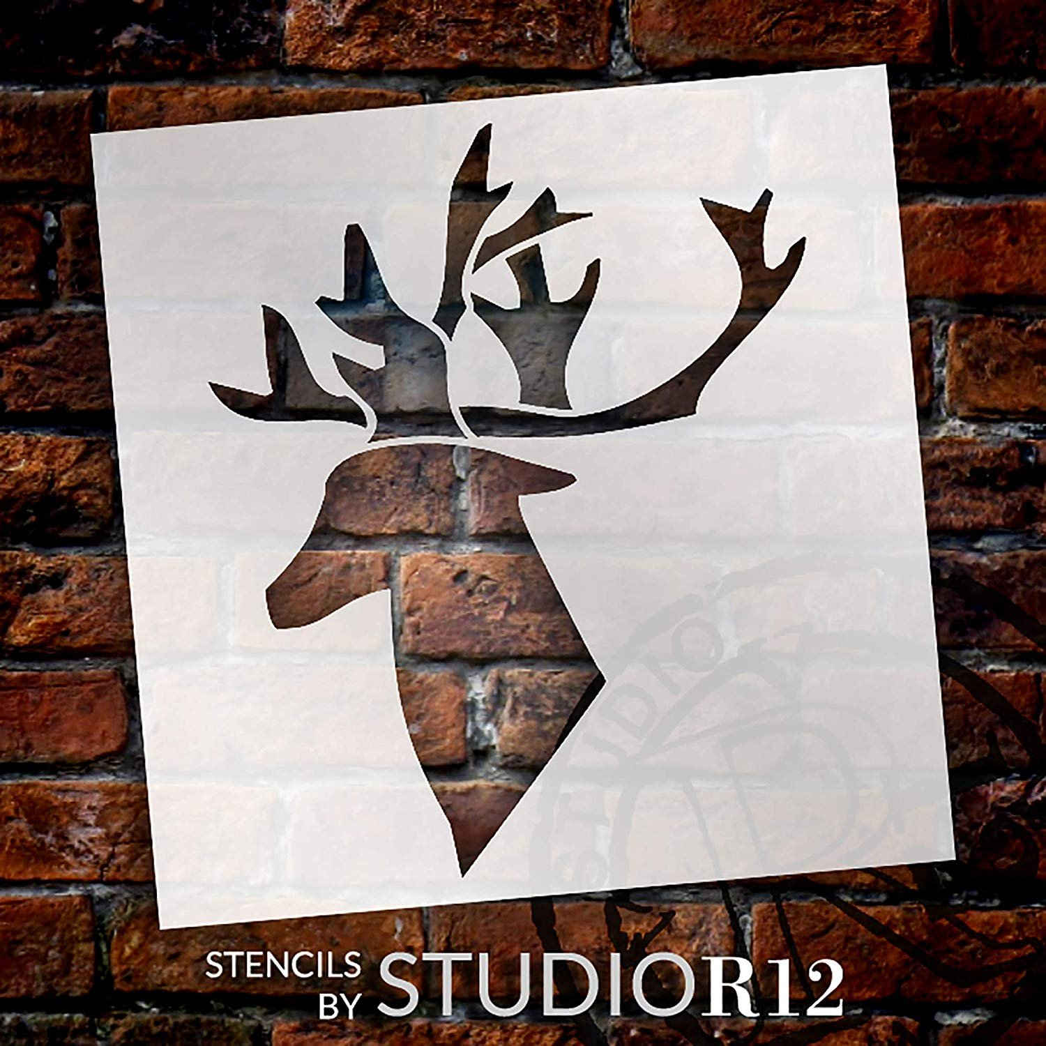 Reindeer Silhouette Stencil With Antlers By Studior12 Diy Holiday Home Decor Rustic Farmhouse Christmas Wall Art Craft Paint Wood Signs