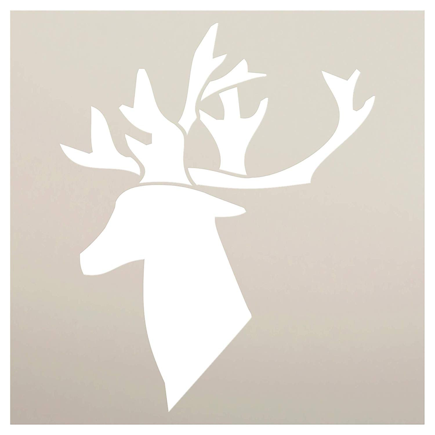 Reindeer Silhouette Stencil with Antlers by StudioR12 | DIY Holiday Home Decor | Rustic Farmhouse Christmas Wall Art | Craft & Paint Wood Signs | Reusable Mylar Template | Select Size