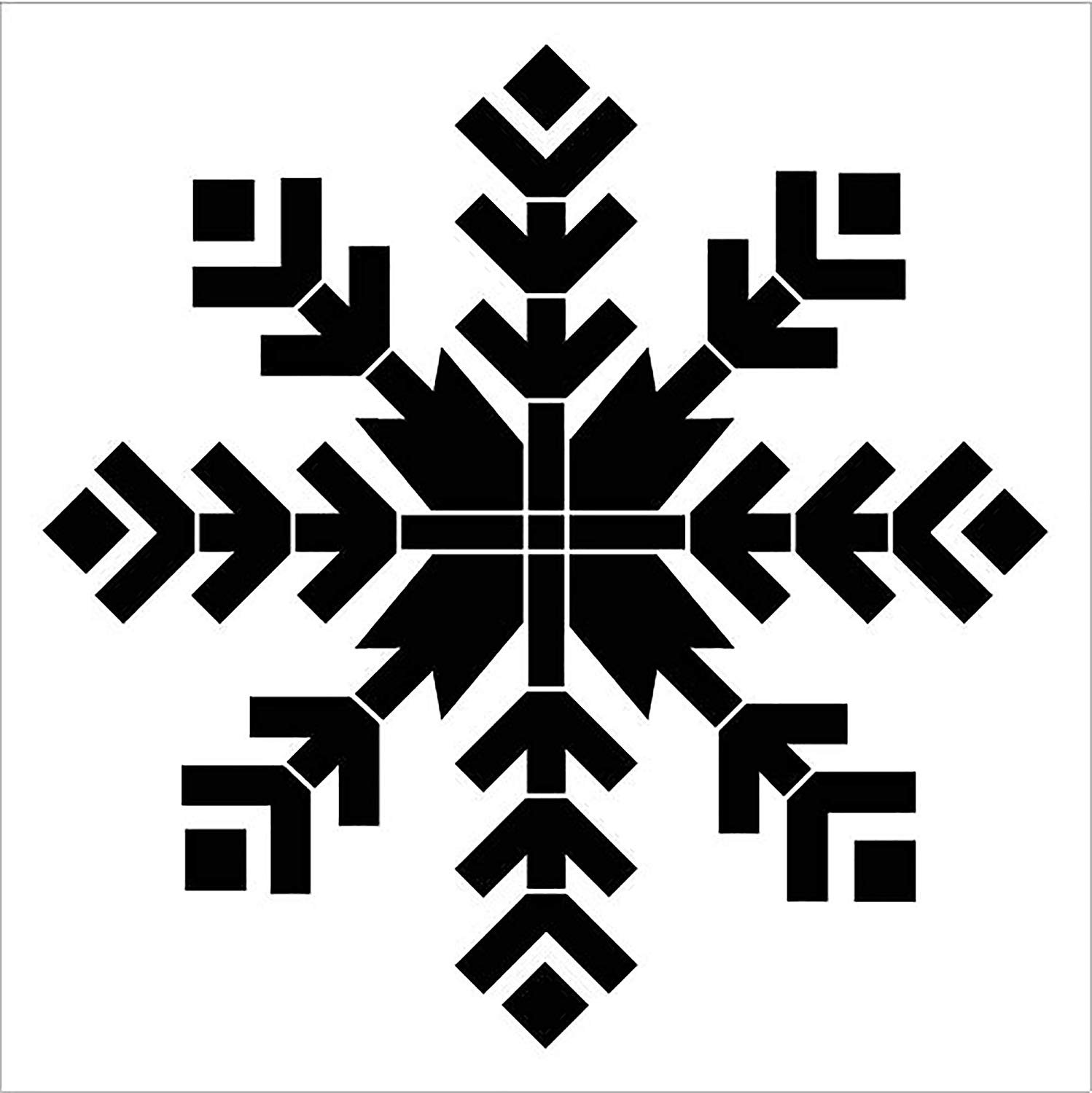 8 Point Arrow Snowflake Stencil by StudioR12 | DIY Vintage Holiday Home Decor | Rustic Farmhouse Christmas Wall Art | Craft & Paint Wood Signs | Reusable Mylar Template | Select Size