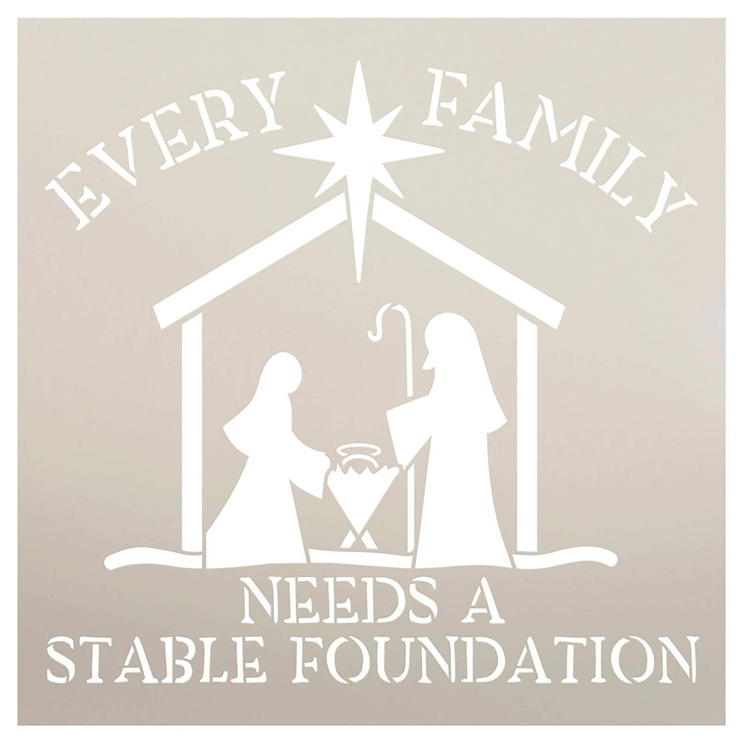 Every Family Needs A Stable Foundation Stencil with Manger StudioR12   Christian Faith Word Art   DIY Christmas Holiday Home Decor   Paint Wood Signs   Reusable Mylar   Select Size