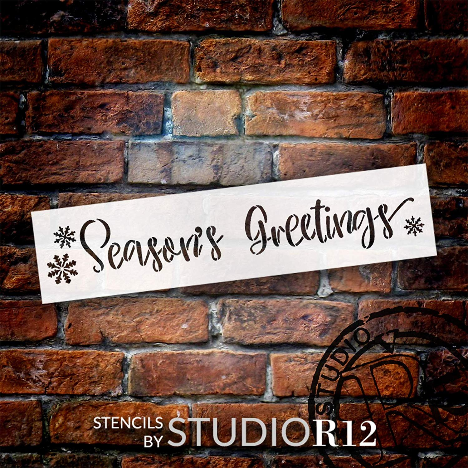 Season's Greetings Stencil with Snowflakes StudioR12 | Rustic Cursive Script Word Art | DIY Christmas Holiday Welcome Home Decor | Paint Wood Signs | Reusable Mylar | Select Size