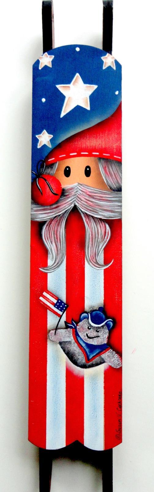Patriotic Santa on Mini Sled - E-Packet - Susan Cochrane