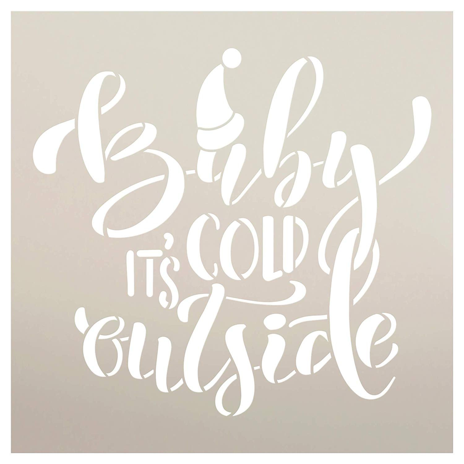 Baby It's Cold Outside Stencil with Santa Hat by StudioR12 | DIY Christmas Song Lyric Home Decor | Holiday Script Quote Word Art | Craft & Paint Wood Sign | Reusable Mylar | Select Size