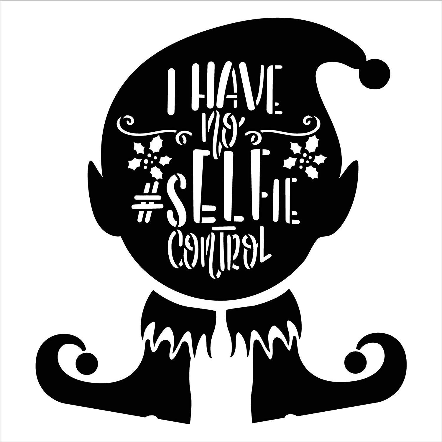 No #Selfie Control 2 Part Stencil w/Elf by StudioR12 | DIY Fun Christmas Holiday Home Decor | Farmhouse Winter Word Art | Paint Wood Signs | Reusable Mylar Template | Select Size
