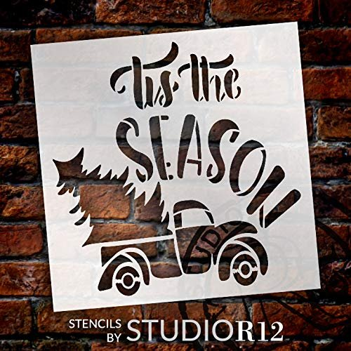 Tis The Season Stencil by StudioR12 | Vintage Red Truck with Christmas Tree | DIY Holiday Farmhouse Home Decor | Craft & Paint Wood Signs | Reusable Mylar Template | Select Size