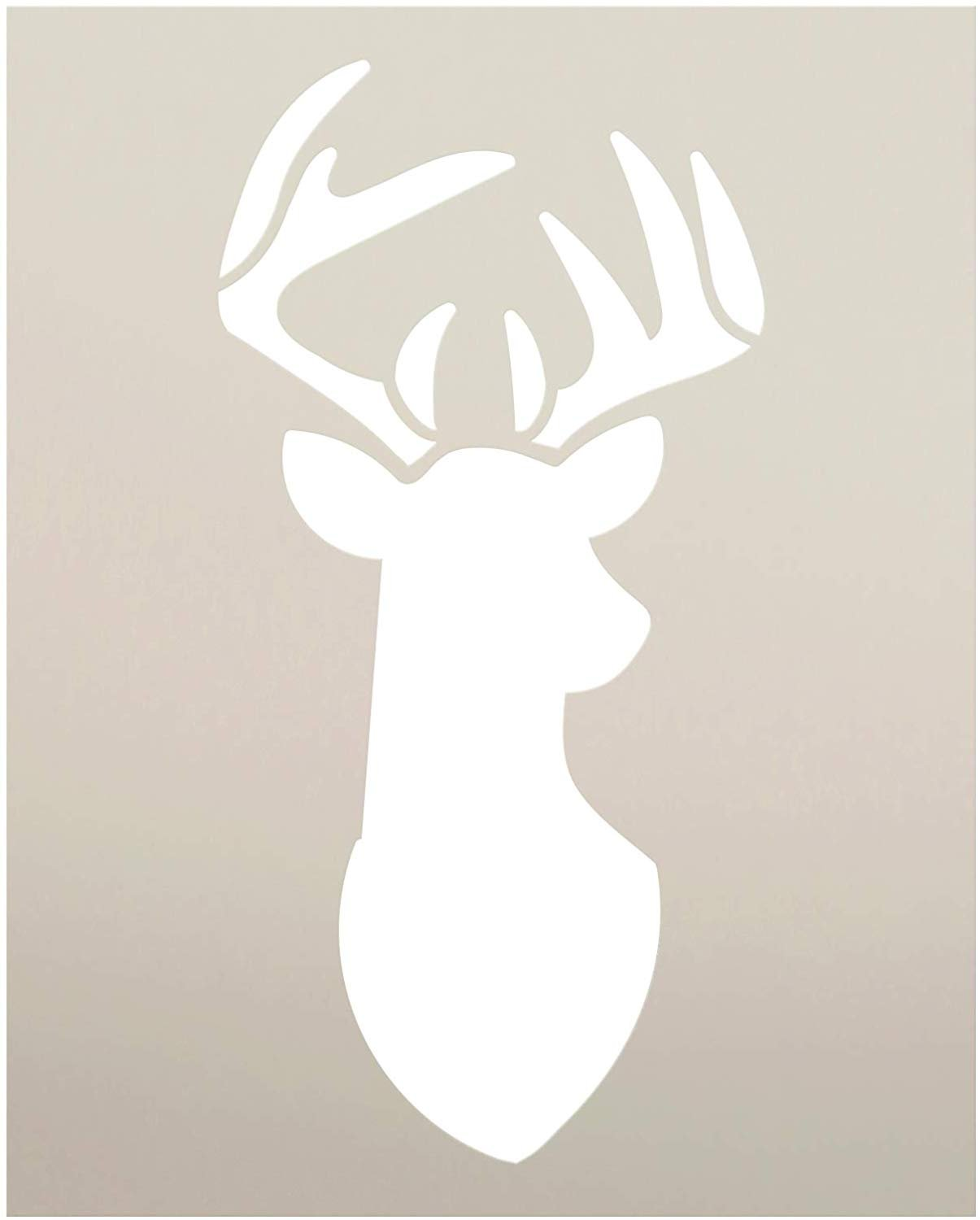 Deer Head Stencil with Antlers by StudioR12 | DIY Country Animal Farmhouse Decor | Hunting Buck Wall Art for Man Cave | Paint Wood Signs | Reusable Mylar Template | Select Size