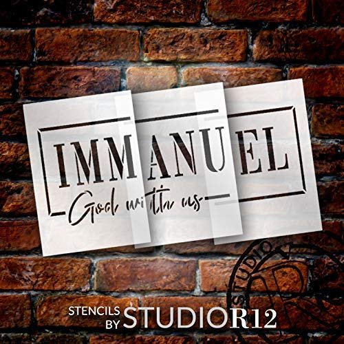 Immanuel God with Us Jumbo 3-Part Stencil by StudioR12 | DIY Faith Script Christmas Home Decor | Craft & Paint Oversize Bible Verse Wood Signs | Reusable Mylar Template | Extra Large | 48 x 22 inch