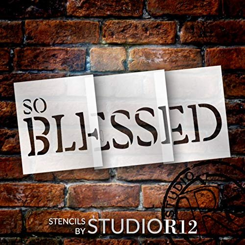 So Blessed Jumbo 3-Part Stencil by StudioR12 | DIY Simple Rustic Inspirational Faith Home Decor | Craft & Paint Oversize Farmhouse Wood Signs | Reusable Mylar Template | Extra Large | 48 x 22 inch