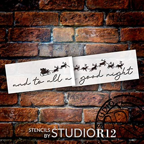 To All a Good Night Jumbo 2-Part Stencil by StudioR12 | Santa's Sleigh & Reindeer | DIY Christmas Word Art Home Decor | Paint Oversize Holiday Wood Sign | Mylar Template | Extra Large | 54 x 12.6 inch