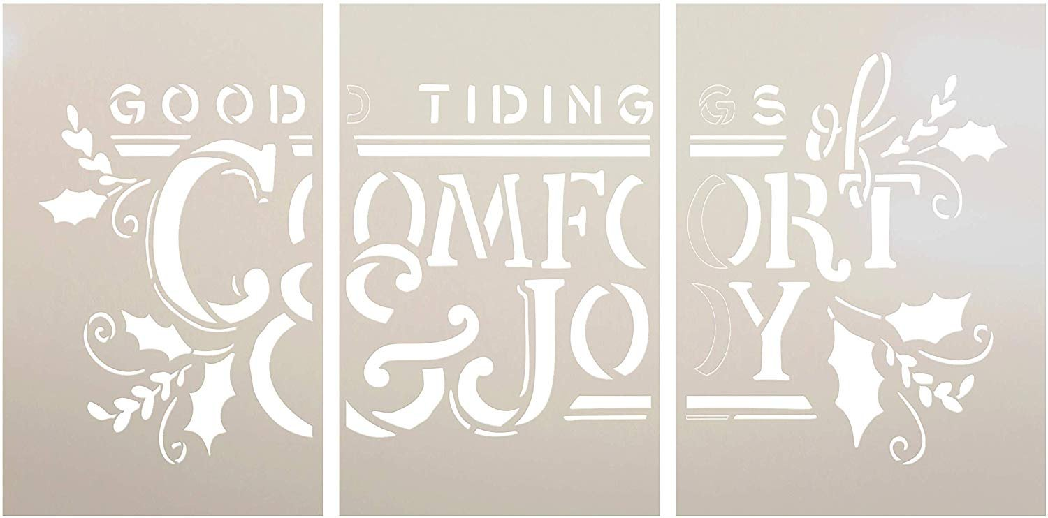 Tidings of Comfort & Joy Jumbo 3-Part Stencil with Holly by StudioR12 | DIY Christmas Word Art Home Decor | Paint Oversize Holiday Wood Signs | Reusable Mylar Template | Extra Large | 42 x 24 inch