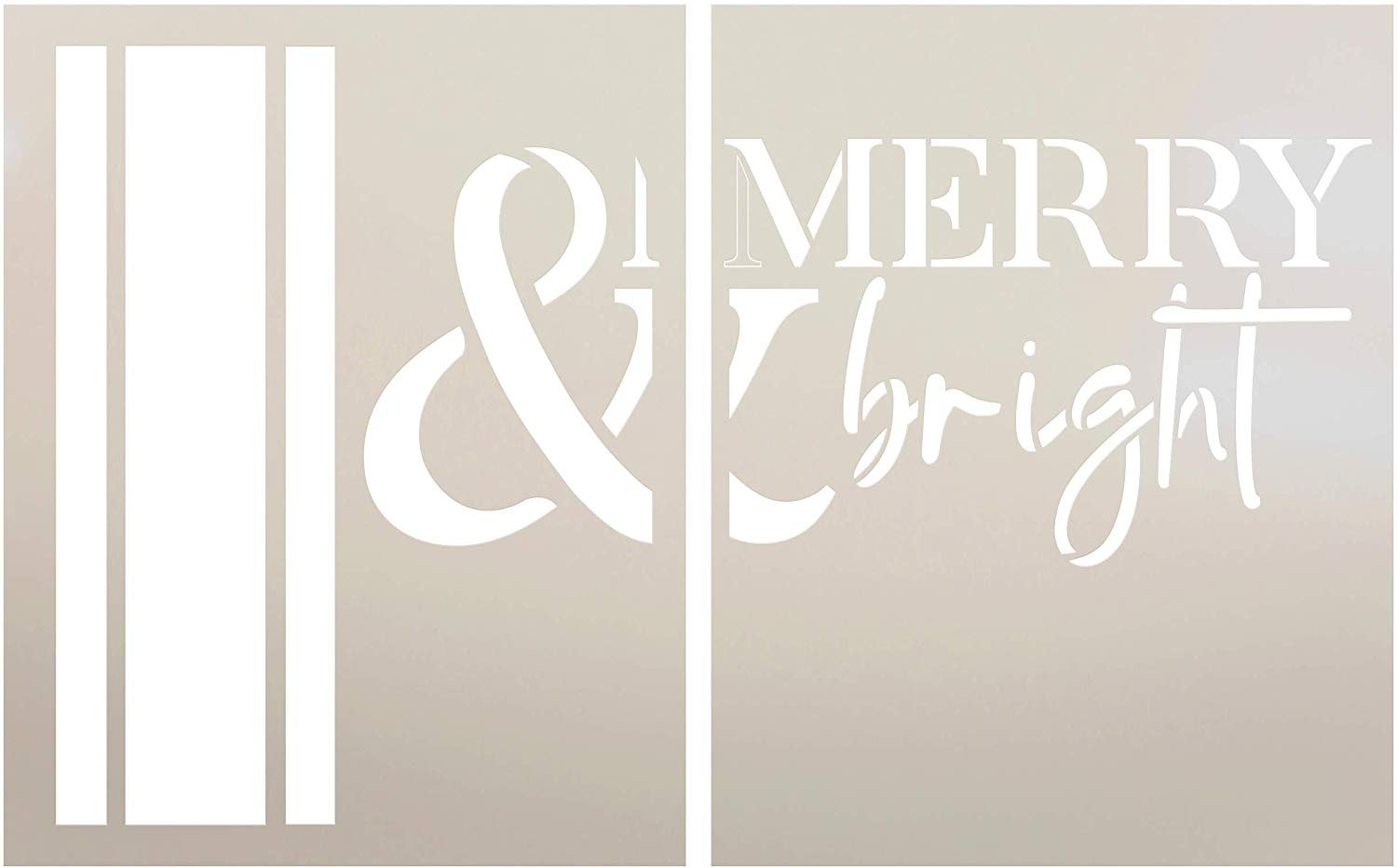 Merry & Bright Jumbo 2-Part Stencil with Stripes by StudioR12 | DIY Christmas Word Art Home Decor | Craft & Paint Oversize Holiday Wood Signs | Reusable Mylar Template | Extra Large | 24 x 36 inch
