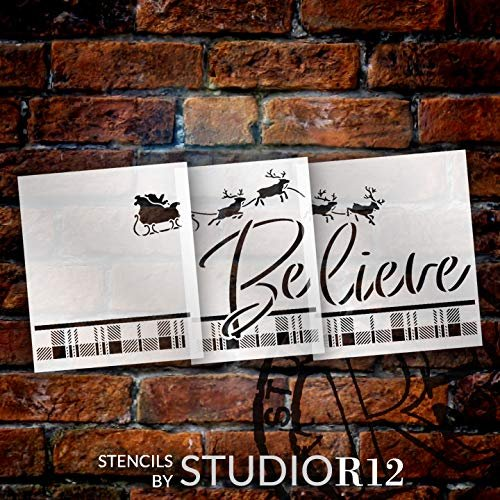 Believe Buffalo Plaid Jumbo 3-Part Stencil by StudioR12 | DIY Santa's Sleigh & Reindeer Christmas Home Decor | Craft & Paint Oversize Holiday Wood Signs | Mylar Template | Extra Large | 48 x 22 inch