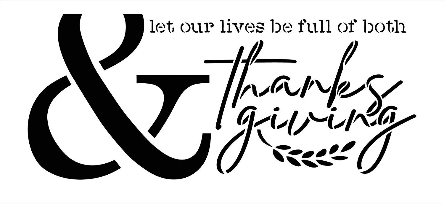 Lives Full of Thanks & Giving Jumbo 3-Part Stencil by StudioR12   DIY Autumn Home Decor   Oversize Fall Word Art   Craft & Paint Wood Signs   Reusable Mylar Template   Extra Large   48 x 22 inch