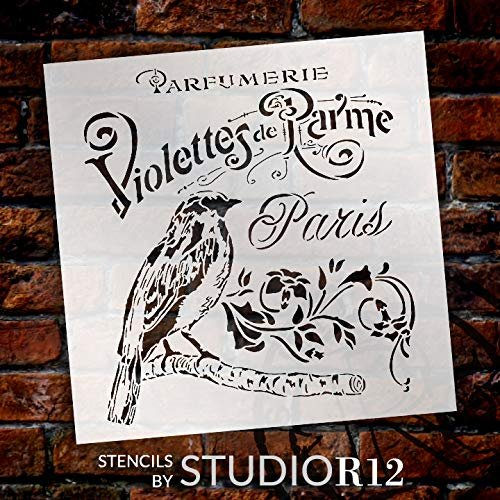 French Paris Antique Bird Stencil with Flowers by StudioR12 | DIY Vintage Script Ephemera Home Decor & Furniture | Violet Parfumerie | Paint Wood Sign | Mylar Template | Select Size