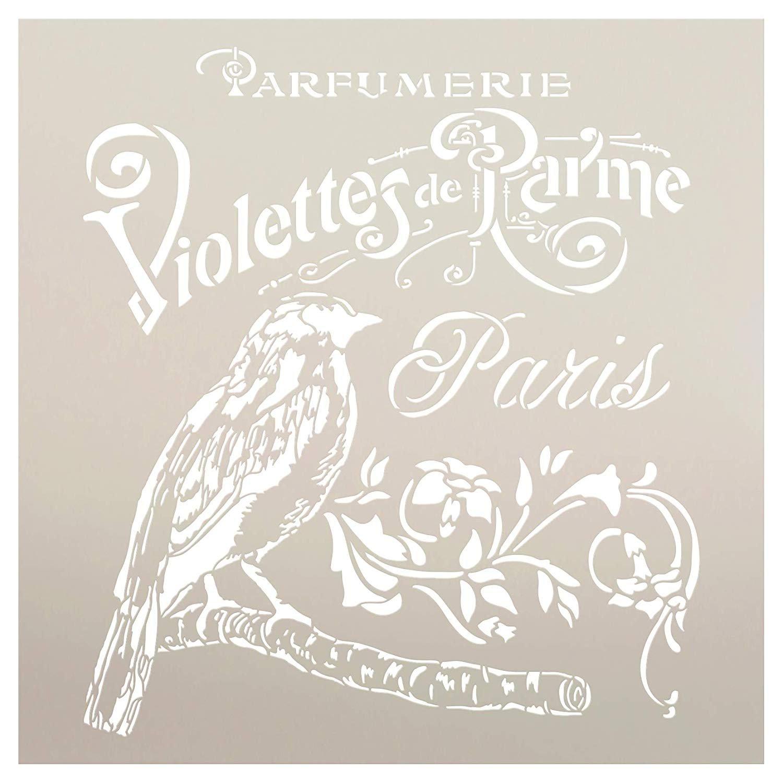 French Paris Antique Bird Stencil with Flowers by StudioR12   DIY Vintage Script Ephemera Home Decor & Furniture   Violet Parfumerie   Paint Wood Sign   Mylar Template   Select Size