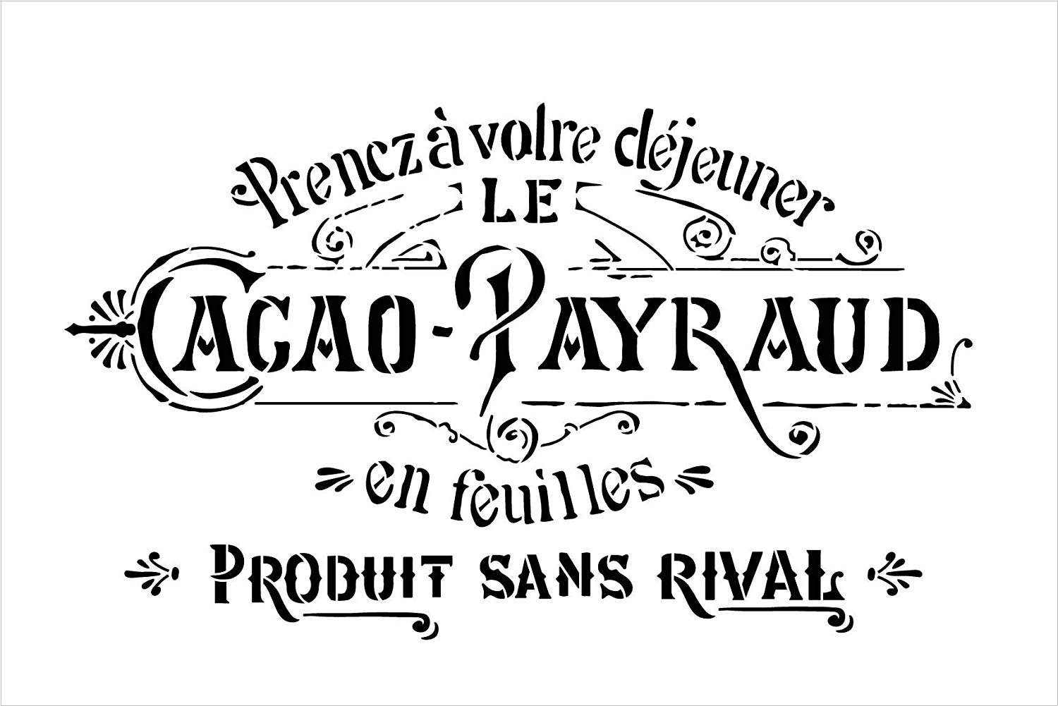 Rustic Embellished Vintage French Stencil by StudioR12 | DIY Ephemera Home Decor & Furniture | Antique Word Art | Craft & Paint Wood Signs | Reusable Mylar Template | Select Size