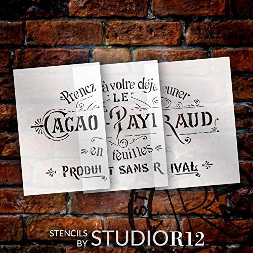 Rustic Embellished Vintage French Stencil Jumbo 3-Part Stencil by StudioR12 | DIY Ephemera Home Decor & Furniture | Oversize Word Art | Paint Wood Sign | Mylar Template | Extra Large | 45 x 28 inch