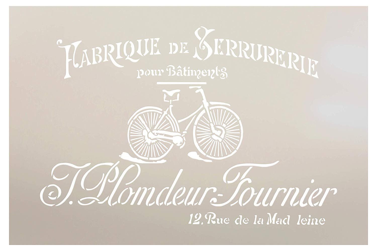 French Vintage Bicycle Stencil by StudioR12   DIY Old Ephemera Home Decor & Furniture   Antique Bike Script Word Art   Craft & Paint Wood Signs   Reusable Mylar Template   Select Size